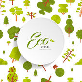 illustration seamless pattern with lettering, green trees and bush on white background, flat style
