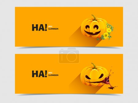 Illustration for Set of two vector banner with realistic pumpkins. Realistic Halloween pumpkin with a carved face of it. Halloween pumpkin with autumn flowers and leaves. Evil pumpkin with heart. - Royalty Free Image
