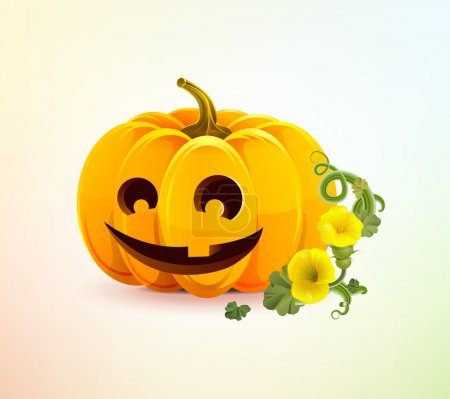 Illustration for Realistic Halloween pumpkin with a carved face of it. Merry pumpkin for Halloween with a single-toothed smile. Halloween pumpkin with autumn flowers and leaves. Happy Halloween. Happy autumn. - Royalty Free Image