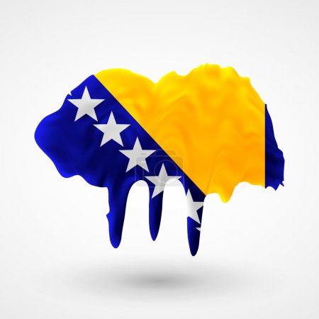 Flag of Bosnia and Herzegovina painted colors