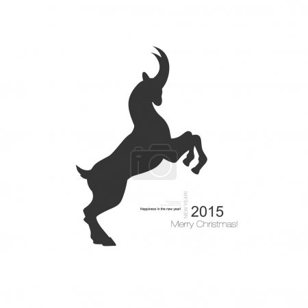 Vector goat symbol with black profile silhouette of a long horned