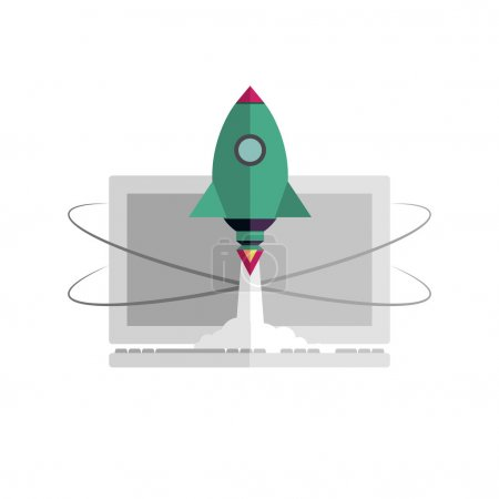 Illustration for Internet start up new business project with rocket image, vector. Flat design. Quick internet provider. Quick work on the computer and on the Internet. Rocket takes off on the background of computer. - Royalty Free Image