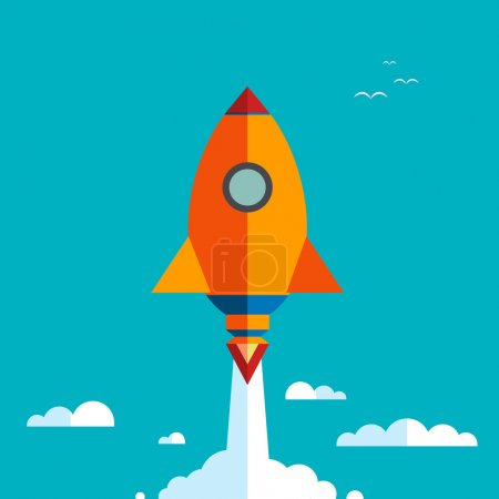Start up new business project with rocket