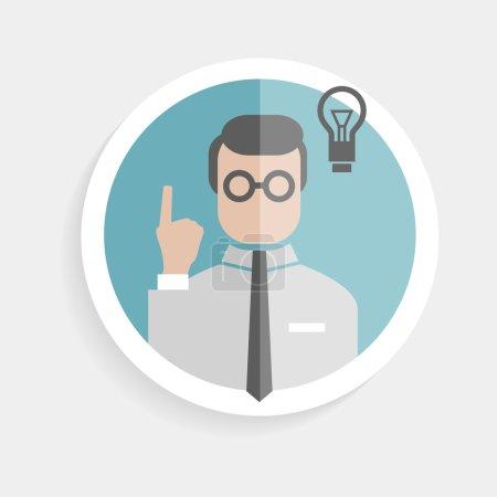 Vector round paper icon researcher successful man