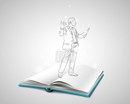 Open book with a blue cover. Sketch Doodle speaker...