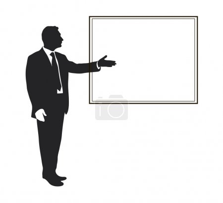 Silhouette of a man. Pointing gesture
