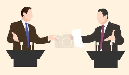 Debate two speakers. Political speeches debates