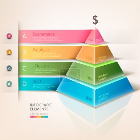 Colored pyramid info graphics