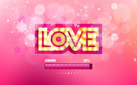 Vector golden inscription love with glowing lamps