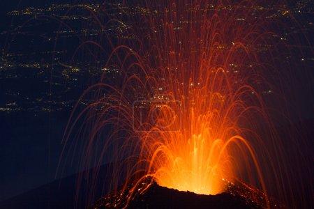 Volcano eruption of nigth