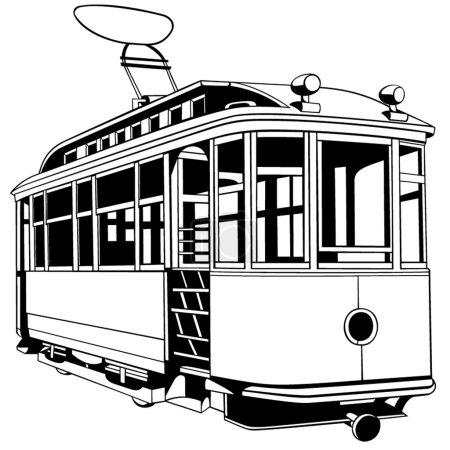 Illustration for Old city tram for design - Royalty Free Image