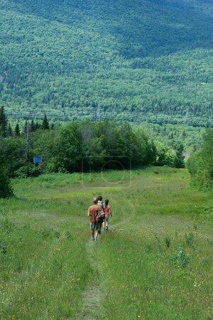 Foto de Gente de senderismo en las montañas, en la provincia de Beaupre, Quebec, Canadá. Viaje a pie en las montañas. Actividad de deporte de verano en Quebec. Trekking en Canadá. Escena panorámica de la naturaleza canadiense - Imagen libre de derechos