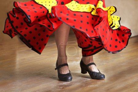 Photo for Fragment photo of flamenco dancer, only kegs cropped, Legs fragment photo of flamenco dancer, spanish - Royalty Free Image