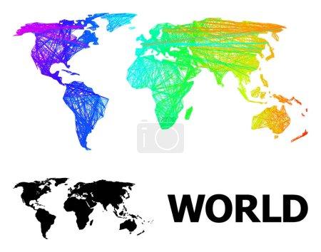 Illustration pour Cadre métallique et carte solide du monde. Le modèle vectoriel est créé à partir d'une carte du monde avec des lignes aléatoires recoupées, et a un gradient de spectre. Les lignes abstraites sont combinées dans la carte du monde. - image libre de droit