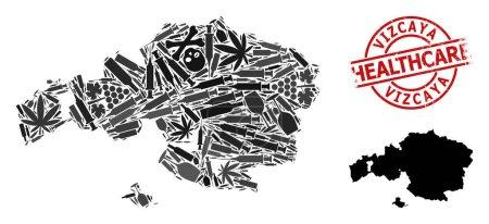 Illustration pour Carte vectorielle de la mosaïque narcotique de la province de Vizcaya. Égratigné soins de santé rond timbre rouge. Concept pour les applications de la toxicomanie et des soins de santé. - image libre de droit
