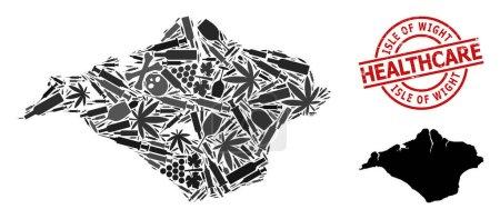 Illustration pour Carte vectorielle de collage des drogues de l'île de Wight. Caoutchouc soins de santé ronde imitation caoutchouc rouge. Modèle de proclamation de la dépendance aux stupéfiants et aux drogues. - image libre de droit