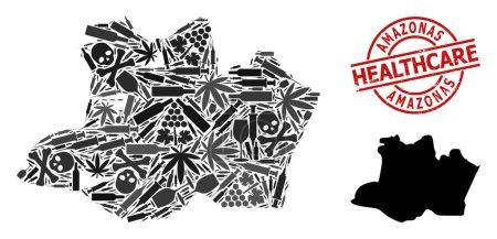 Illustration pour Carte vectorielle de collage de dépendance de l'État d'Amazonas. Grunge soins de santé ronde imitation caoutchouc rouge. Modèle pour affiches sur la dépendance aux stupéfiants et la médecine. - image libre de droit