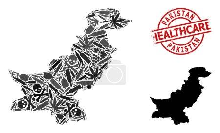 Illustration pour Carte vectorielle en mosaïque narcotique du Pakistan. Caoutchouc santé rond joint rouge. Modèle pour les projets de toxicomanie et de soins de santé. Carte du Pakistan est construit avec des seringues d'injection, la mort, - image libre de droit