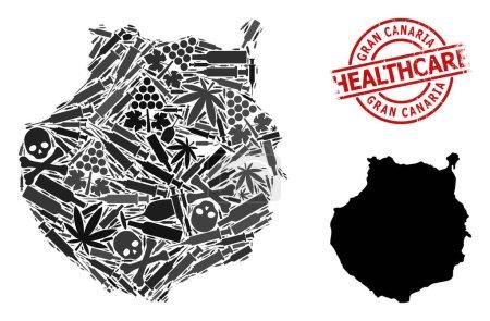 Illustration pour Carte vectorielle du collage narcotique de Gran Canaria. Rayé soins de santé autour filigrane rouge. Concept d'agitprop narcotique et de soins de santé. - image libre de droit