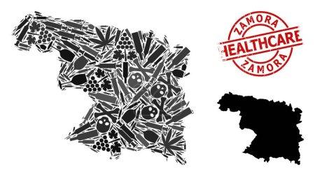 Illustration pour Carte en mosaïque vectorielle de la province de Zamora. Insigne rouge rond en caoutchouc pour soins de santé. Concept de toxicomanie et de soins de santé. Carte de Zamora Province est en forme avec des seringues injectables, - image libre de droit