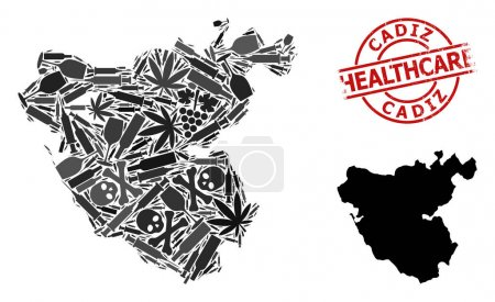 Illustration pour Carte vectorielle du collage narcotique de la province de Cadix. Grunge soins de santé autour filigrane rouge. Modèle pour les projets liés à la toxicomanie et aux soins de santé. - image libre de droit