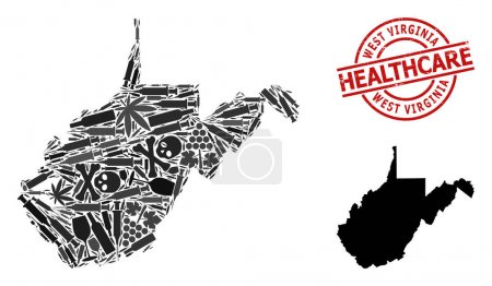 Illustration pour Carte vectorielle du collage narcotique de l'État de Virginie Occidentale. Caoutchouc soins de santé ronde empreinte rouge. Concept d'agitation narcotique et médicamenteuse. - image libre de droit