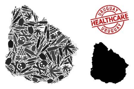 Illustration pour Carte vectorielle en mosaïque narcotique de l'Uruguay. Caoutchouc soins de santé ronde empreinte rouge. Modèle pour les collages sur la toxicomanie et les soins de santé. Carte de Uruguay est faite à partir d'aiguilles d'injection, crâne, dope, weed, - image libre de droit