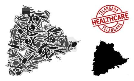 Illustration pour Carte vectorielle de collage de dépendance de Telangana State. Grunge insigne rouge rond de soins de santé. Concept de dépendance aux stupéfiants et d'agitprop de soins de santé. Carte de Telangana State est formé à partir d'aiguilles d'injection, - image libre de droit
