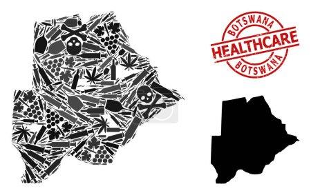 Illustration pour Carte vectorielle du collage narcotique du Botswana. Soins de santé rayés Sceau rouge rond. Template for narcotic addiction and health care doctrines. Carte du Botswana est formé d'aiguilles d'injection, la mort, les abus, - image libre de droit