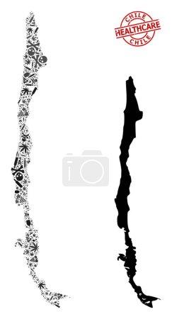 Illustration pour Carte mosaïque de la dépendance vectorielle du Chili. Rayé soins de santé autour filigrane rouge. Template for narcotic addiction and health care propaganda. Carte du Chili est en forme d'aiguilles d'inoculation, toxique, - image libre de droit