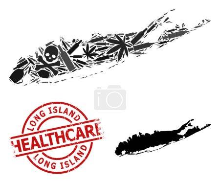 Illustration pour Carte vectorielle du collage narcotique de Long Island. Grunge soins de santé ronde imitation caoutchouc rouge. Modèle de propagande en matière de toxicomanie et de soins de santé. - image libre de droit