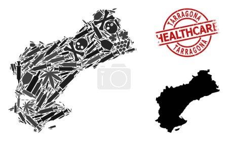 Illustration pour Carte vectorielle de la mosaïque narcotique de la province de Tarragone. Grunge insigne rouge rond de soins de santé. Concept de la toxicomanie et de la propagande des soins de santé. - image libre de droit