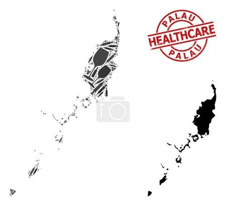Illustration pour Carte vectorielle de collage de drogues des îles Palaos. Grunge soins de santé ronde empreinte rouge. Modèle d'agitprop pour la toxicomanie et les soins de santé. Carte des Îles Palaos est faite de seringues injectables, toxine, - image libre de droit