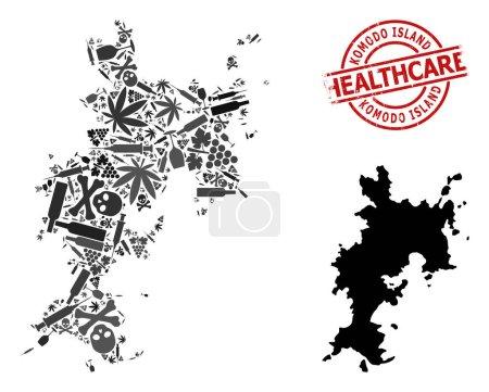 Illustration pour Carte vectorielle du collage des drogues de l'île Komodo. Timbre rouge rayé sur les soins de santé. Concept de toxicomanie et d'agitation des soins de santé. Carte de Komodo Island est faite d'aiguilles d'injection, - image libre de droit