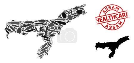 Illustration pour Vector addiction composition map of Assam State. Soins de santé rayés empreinte rouge ronde. Concept pour les applications de la toxicomanie et des soins de santé. - image libre de droit