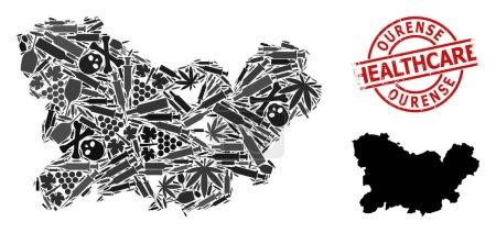 Illustration pour Carte vectorielle de la composition narcotique de la province d'Ourense. Caoutchouc soins de santé ronde empreinte rouge. Concept d'agitprop narcotique et de soins de santé. - image libre de droit