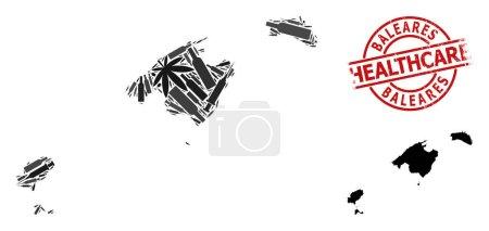 Illustration pour Carte vectorielle de collage de dépendance de la province de Baleares. Grunge soins de santé joint rouge rond. Concept de dépendance aux stupéfiants et d'agitprop de soins de santé. Carte de la province de Baleares est faite d'aiguilles d'inoculation, - image libre de droit