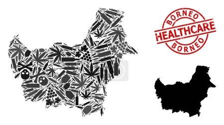 Illustration pour Carte vectorielle de la composition narcotique de l'île de Bornéo. Grunge insigne rouge rond de soins de santé. Modèle pour les toxicomanies et les soins de santé. Carte de l'île de Bornéo est faite d'aiguilles d'inoculation, - image libre de droit