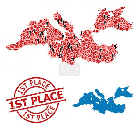 Illustration for Mosaic map of Mediterranean Sea composed of sars virus items and humans elements. 1St Place distress stamp. Black person items and red sars virus elements. 1St Place caption is inside round stamp. - Royalty Free Image