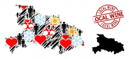 Illustration pour Distress Timbre local du vin, et de beaux humains Covid-2019 traitement collage carte de la province du Hubei. Sceau rond rouge a étiquette Vin local à l'intérieur cercle. - image libre de droit