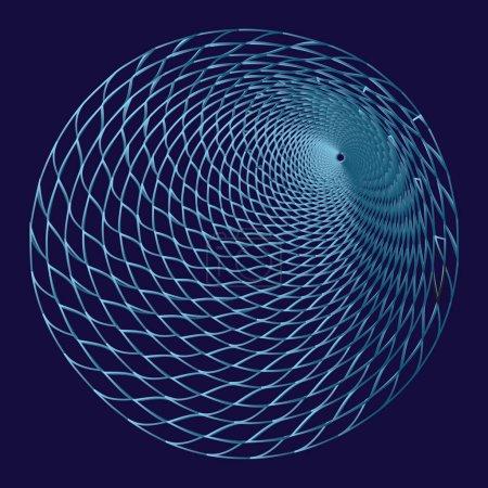 Illustration pour Tunnel ou vortex. Illusion optique. Tunnel filaire numérique. Grille de tunnel 3D. Image vectorielle abstraite de fond - image libre de droit