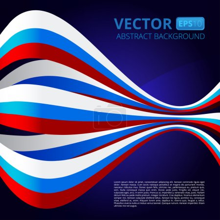 Abstract background with ribbons in blue-red-white colors to the