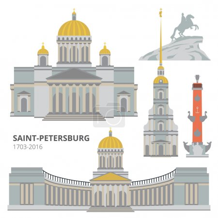 Saint-Petersburg flat cityscape. Vector set.
