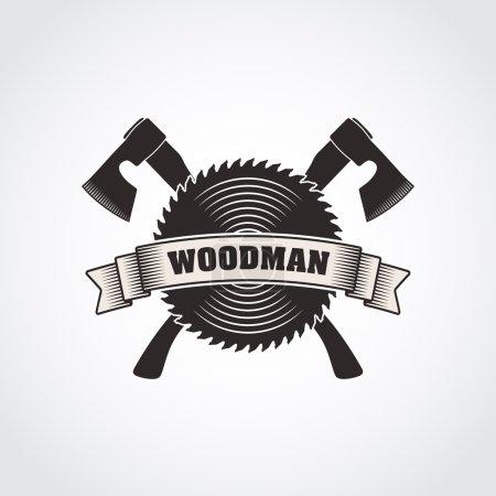 Illustration for Vector monochrome retro style woodworking company logo, woodman badge, vintage sawmill emblem - Royalty Free Image
