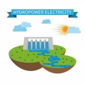 Flat hydropower alternative electricity vector icon