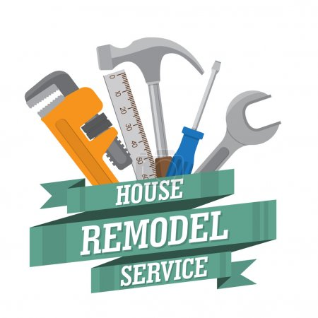 Illustration for House remodel tools. Home repair service. House repair company logo. Flat style toola for building, remodel and repair - Royalty Free Image