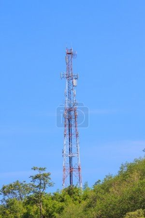 Telecommunication tower on mountian and blue sky...