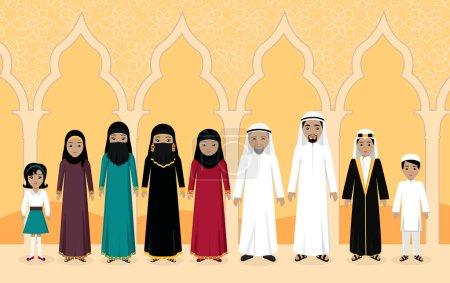 Arabian Family People Design Flat