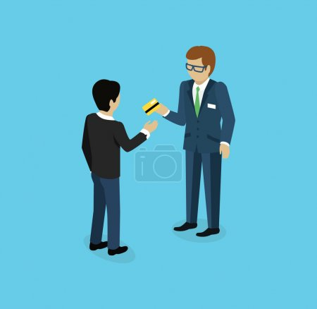 Man Give Credit Card Icon Isometric