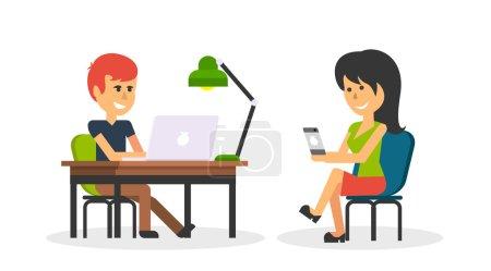 People Work in Office Design Flat